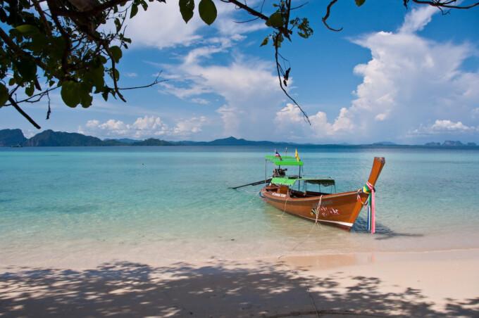 boat near the beach on koh kradan thailand