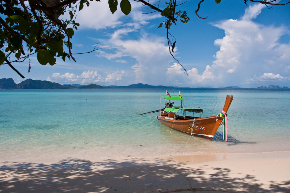 boat near the beach on koh kradan thailand