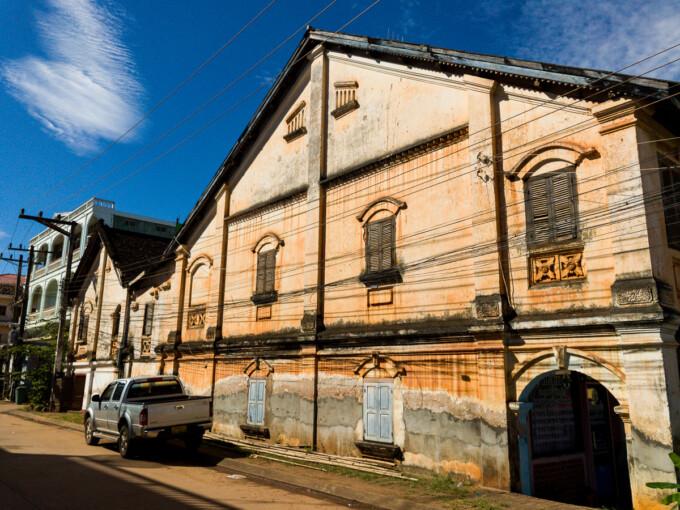 dialpidated building in pakse laos