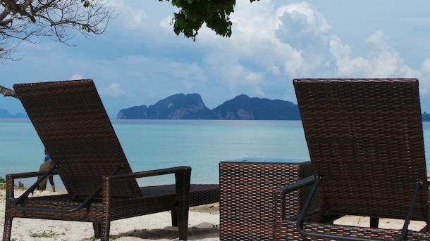 beach chairs on koh kradan island thailand