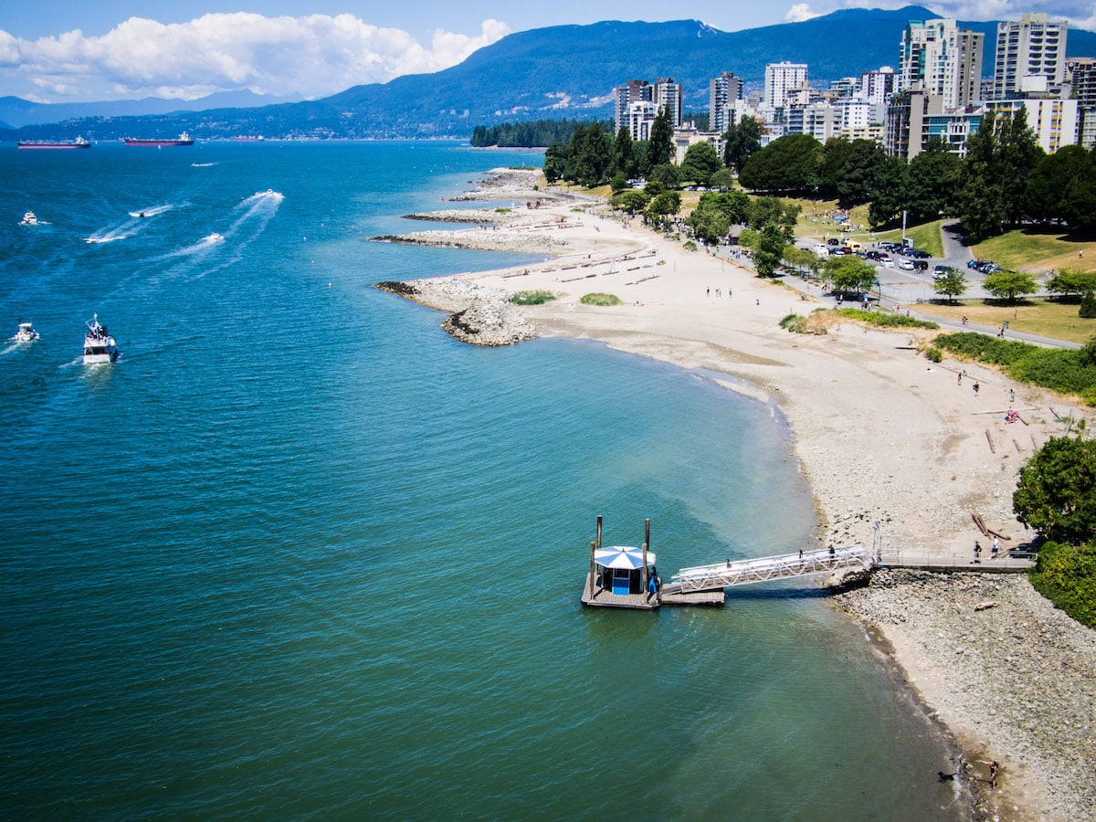 vancouver beaches from burrard street bridge