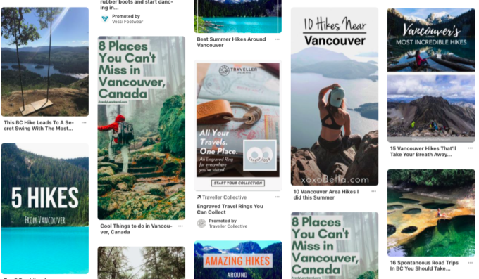 pinterest screengrab showing search results for adventure activities in vancouver
