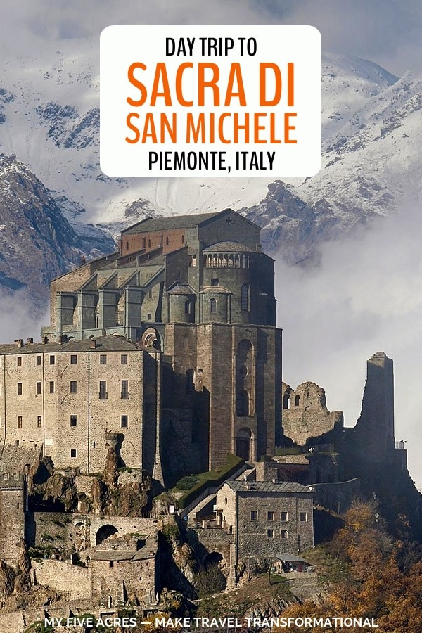 Find all the details for an amazing visit to Sacra di San Michele in Piemonte, Italy, just a half hour from Turin. You can hike or drive to the monastery on the mountain and marvel at the ingenuity it took to get it there. Click to find out more. #italy #travel #turin #monastery #religion #myfiveacres #mindfultravel
