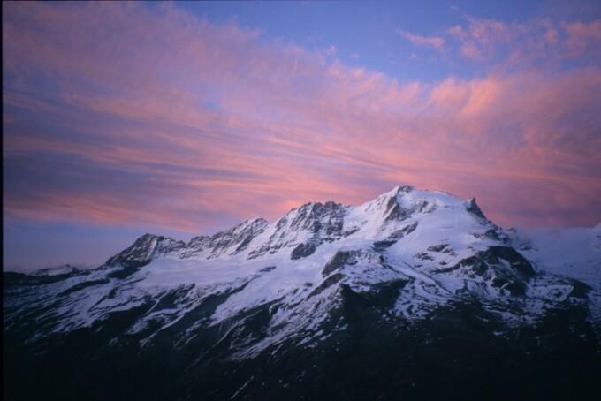 sunset over the italian alps