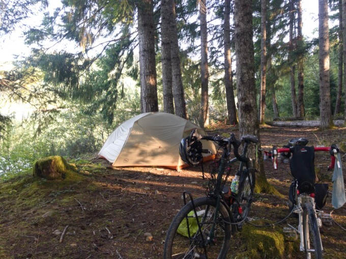tent in the forest on Vancouver Island