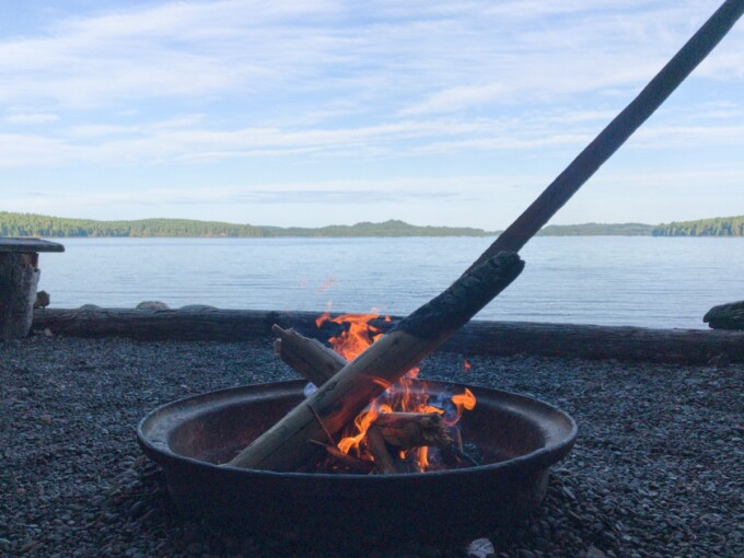 campfire in a steel ring