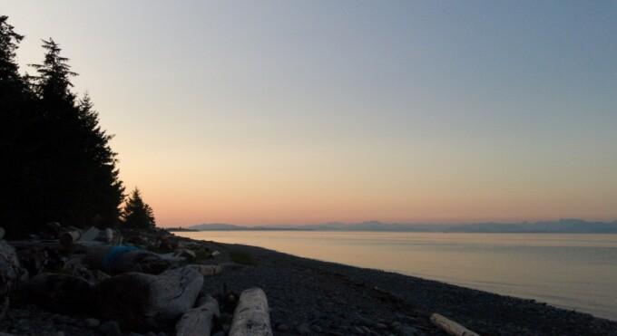 sunset on a vancouver island beach