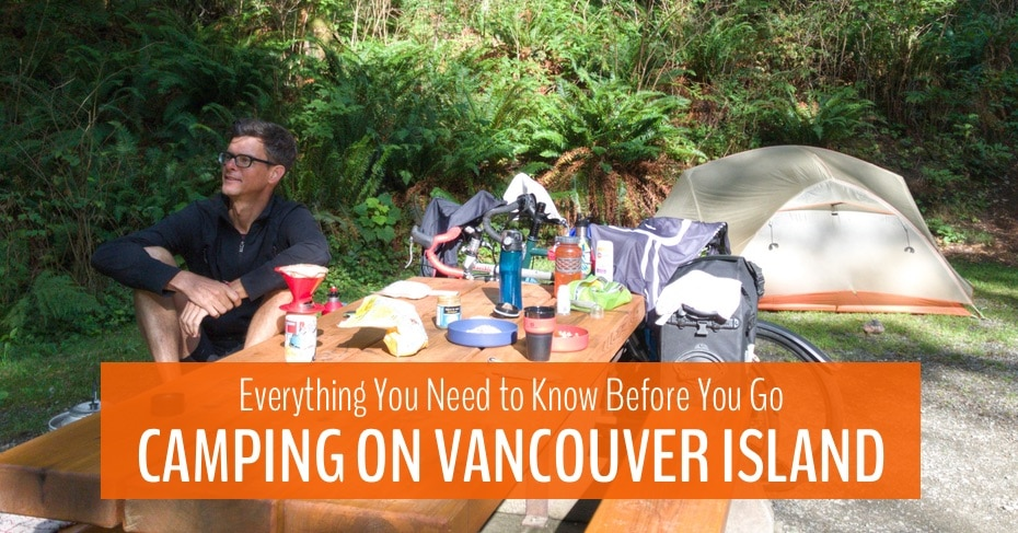 blog image with text overlay camping on vancouver island