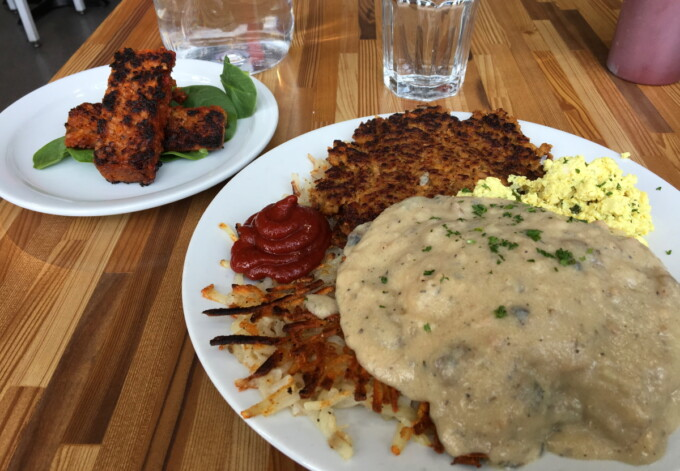 vegan brunch smothered with vegan gravy