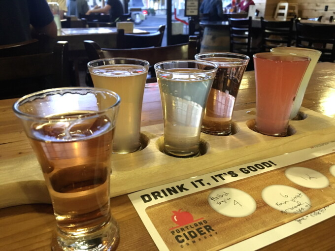 cider flight from Portland cider house