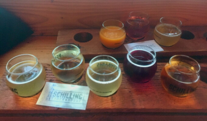 tasting flight from cider house portland