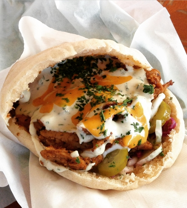 shwarma sandwich from falafel house