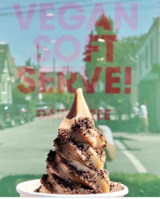 vegan soft serve ice cream in a cup
