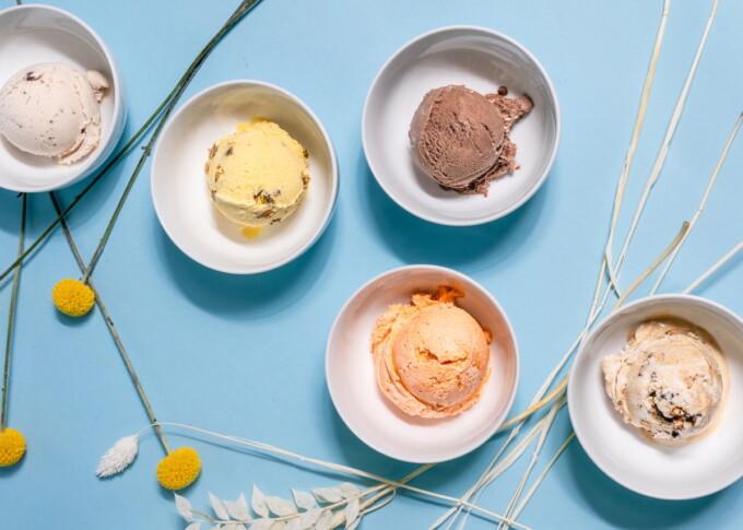 dishes of vegan ice cream