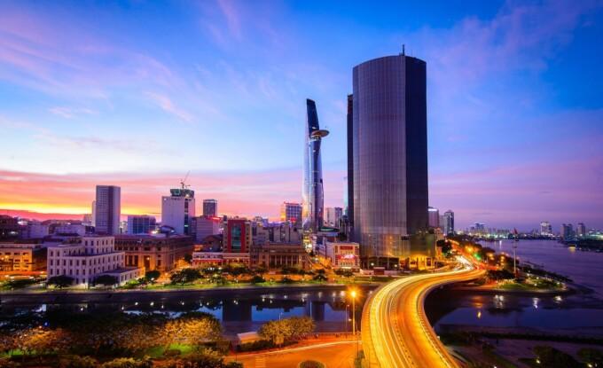 ho chi minh city skyscape at night