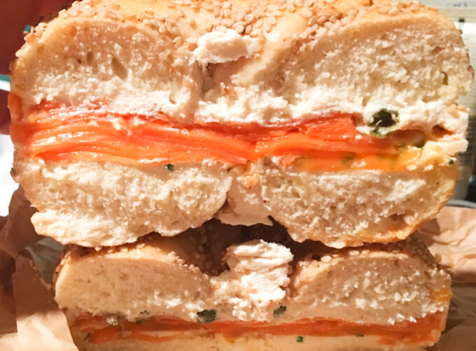 bagel sandwich filled with vegan carrot lox