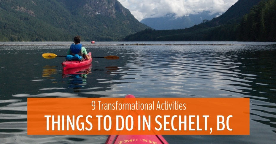 kayaks on the water in sechelt bc