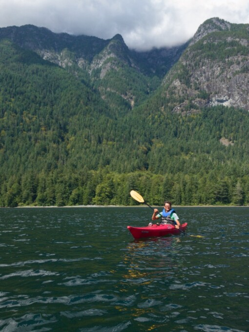 male kayaker on sunshine coast bc