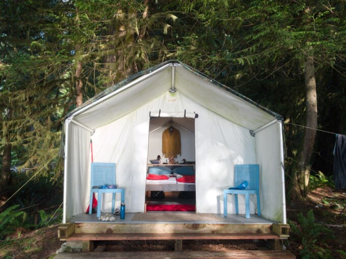 prospectors tent at tzoonie in sechelt