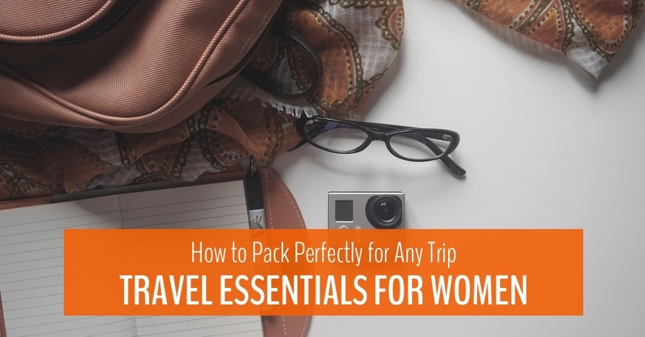 blog title image for travel essentials for women