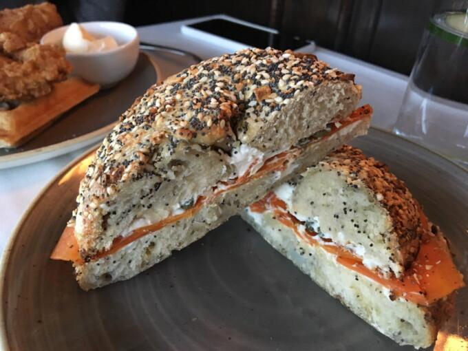 carrot lox and vegan cream cheese bagel