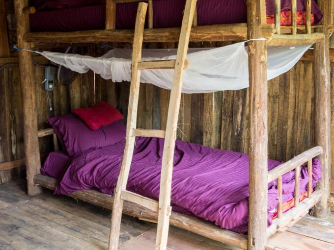 bunk bed in nguyen shack hostel phong nha vietnam