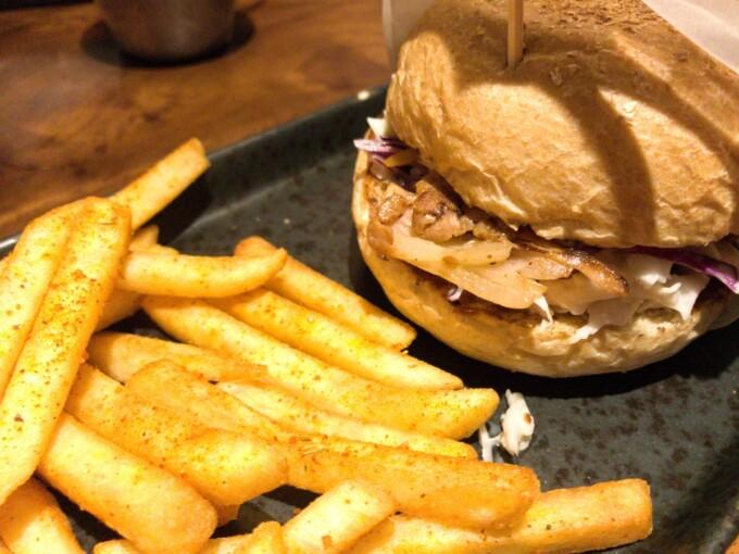 vegan jackfruit burger and fries