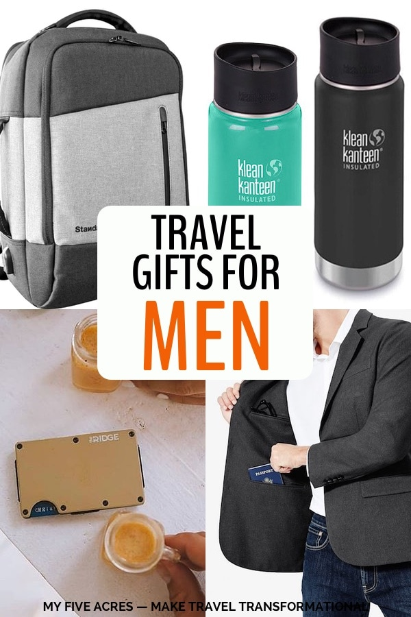 Good travel gifts for men can be hard to find. Don't worry. Help is here! As a nomad for the last 7 years, I've had a chance to discover exactly what pieces of travel gear can make a trip terrific. You'll find all my faves in this post. Ready to find the perfect gift and check his name off your list? Click to get it done. #travelgear #travel #myfiveacres #gifts