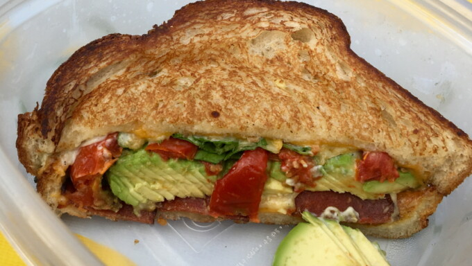 vegan bacon avocado tomato sandwich