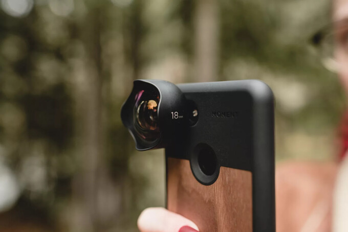 phone with wide-angle lens attachment