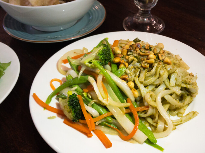 plate of cao lau noodles and veggies