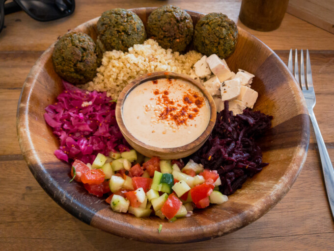 quinoa and falafel bowl from nourish