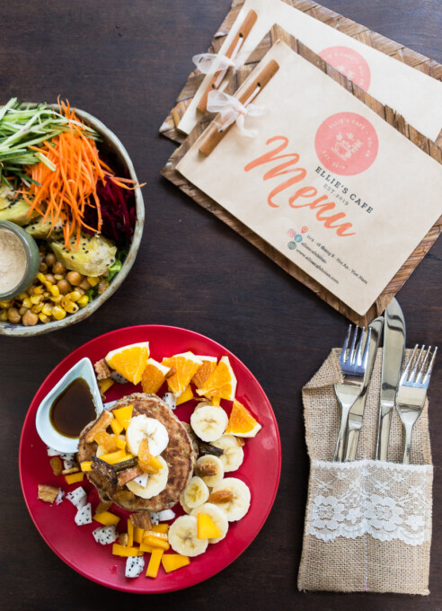 vegan pancakes and quinoa bowl