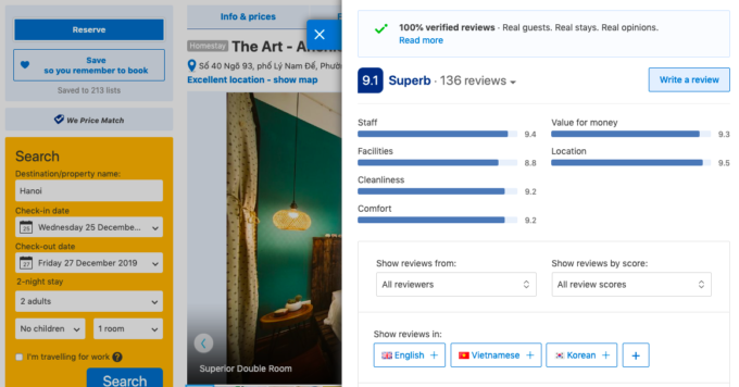 reviews tab on a hanoi hotel on booking.com