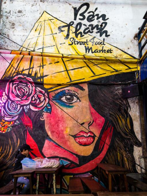 graffiti at ben thanh market ho chi minh city saigon