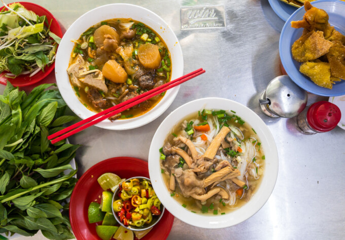 bowls of noodle soup in ho chi minh city