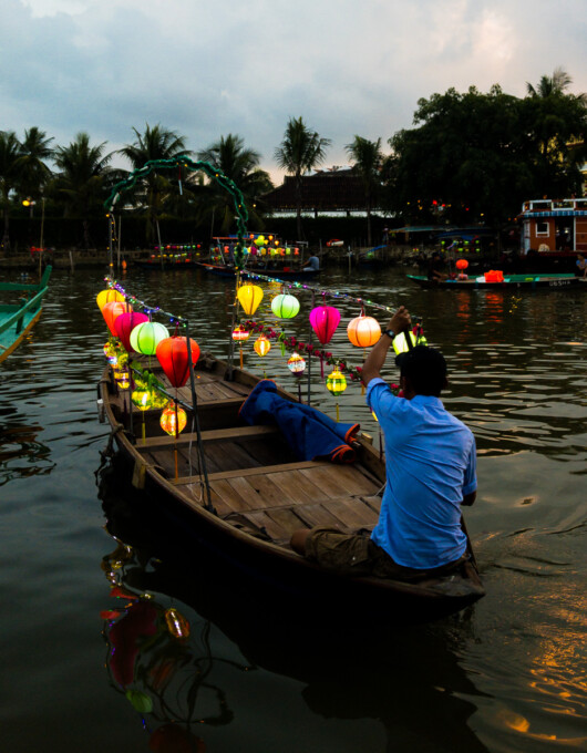 wooden boat on hoi an river