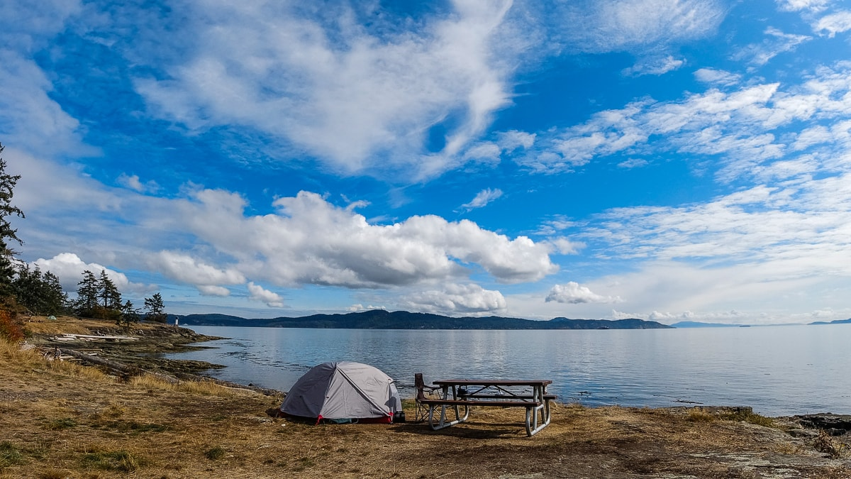tent and picnic table on canada's west coast