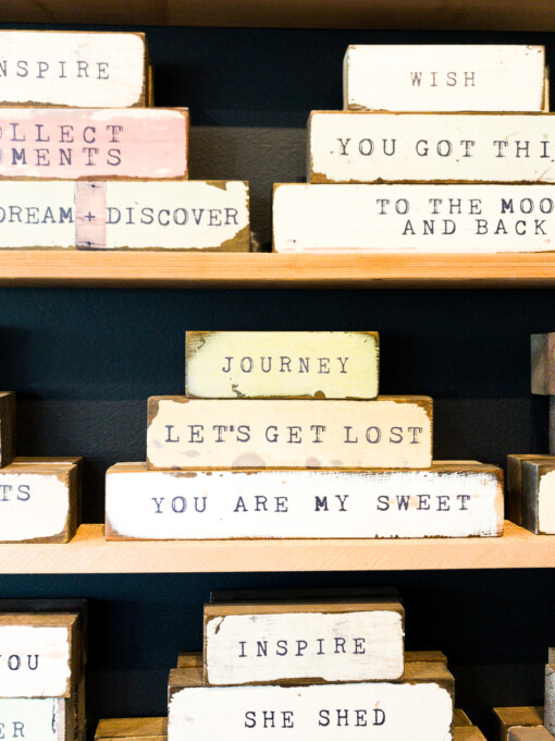 wooden blocks with words on them journey let's get lost you are my sweet