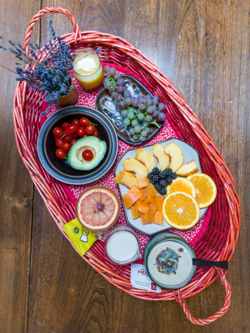breakfast tray with fruit and tea