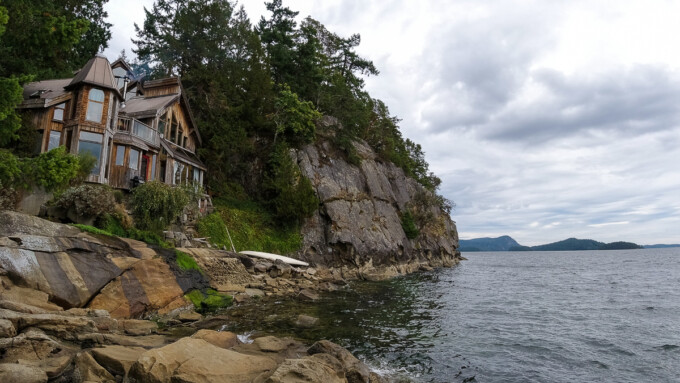wooden fairy castle house on the shore