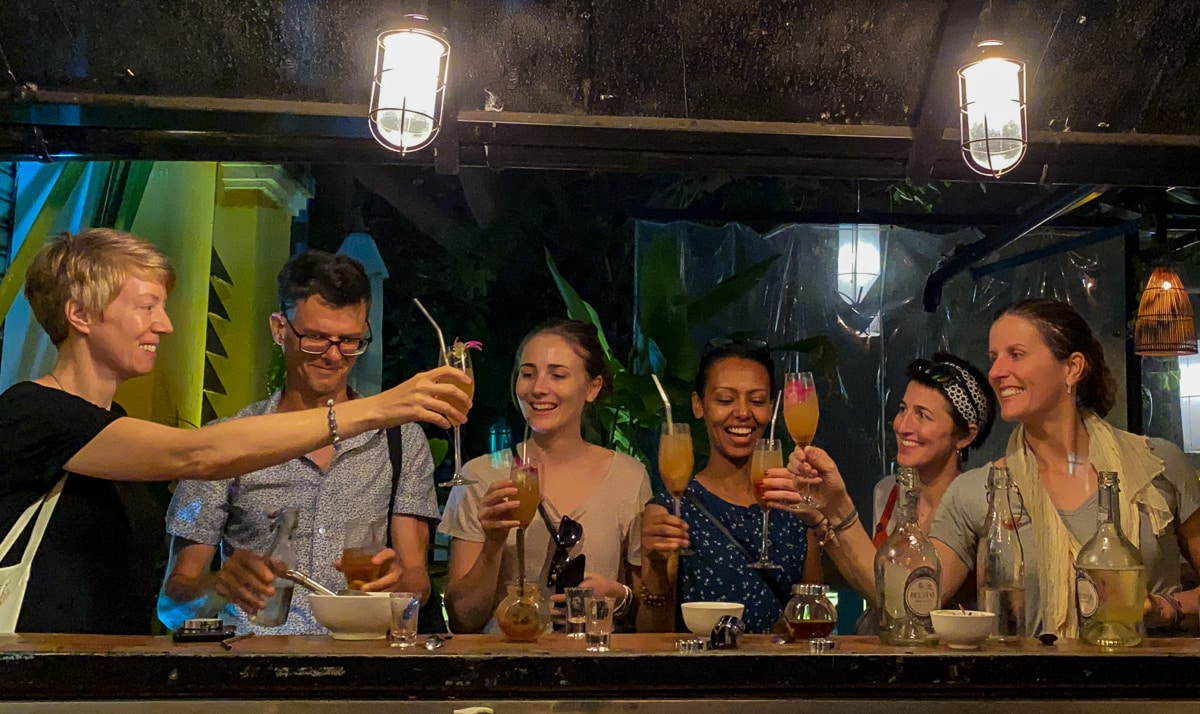 group of people with fancy cocktails