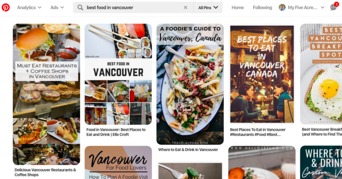 screen grab of a pinterest search for best food in vancouver