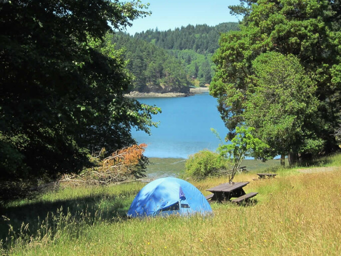 tent looking out over the water on saturna island