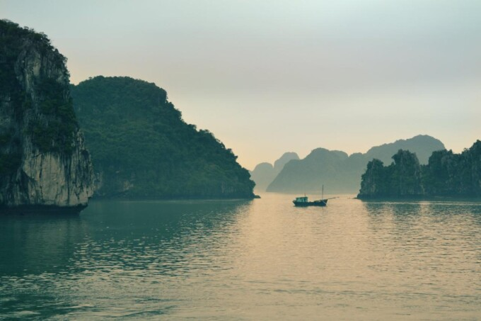 sun setting over ha long bay