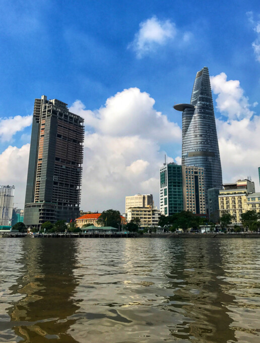 bitexco tower saigon city from the water