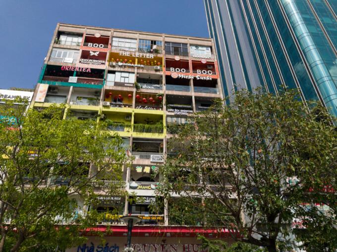 exterior of cafe apartment building saigon