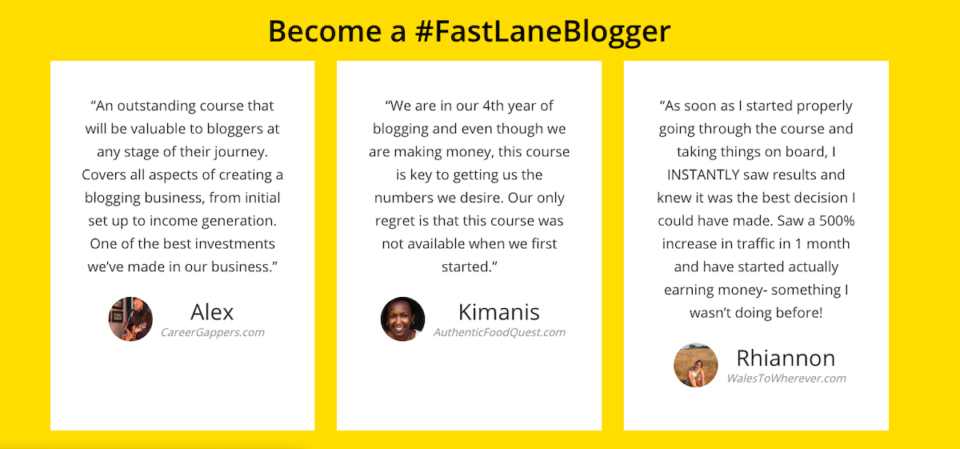 reviews from students who have taken Fast Lane Blogging Accelerator
