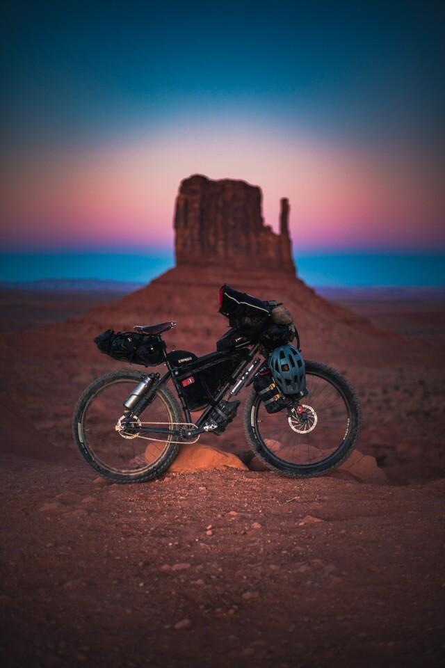 bikepacking bike in the desert in arizona