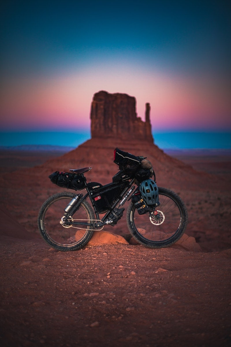 bikepacking bike in the desert in arizona